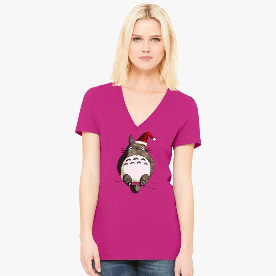Totoro Christmas  Women's V-Neck T-shirt