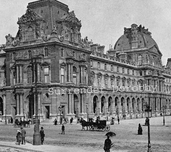 Louvre Museum Paris France 1890 Rotogravure Black & White
