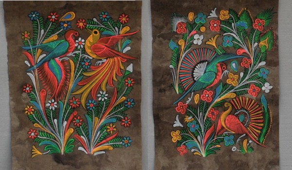 Mexican Folk Art Bark Paintings Birds Phoenix And Flowers