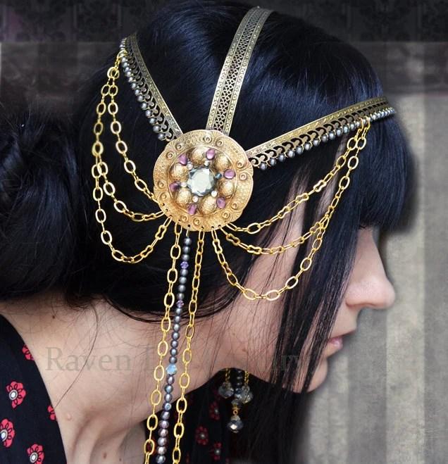 Art Nouveau Headpiece Headdress La Belle Dame Sans Merci Romantic Era Style CUSTOM COLORS