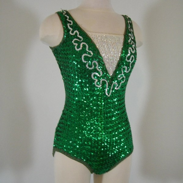 Vintage Green Sequined Showgirl Leotard Tiddleywinkvintage