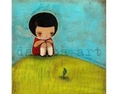 WAITING for SPRING - Little Girl Illustration by Danita (8x8 inches print) - DanitaArt
