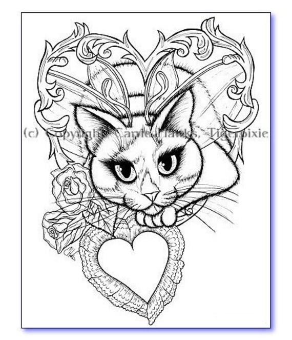 Items similar to Valentine Tuxedo Fairy Cat Fantasy Art 6