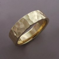 14k Gold Wedding Ring in Hammered 14k Recycled Yellow Gold
