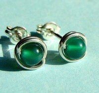 Tiny Emerald Green Onyx Post Stud Earrings in by