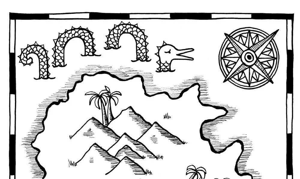 Hide-Your-Own Treasure Map / Pirate Map Printable Coloring