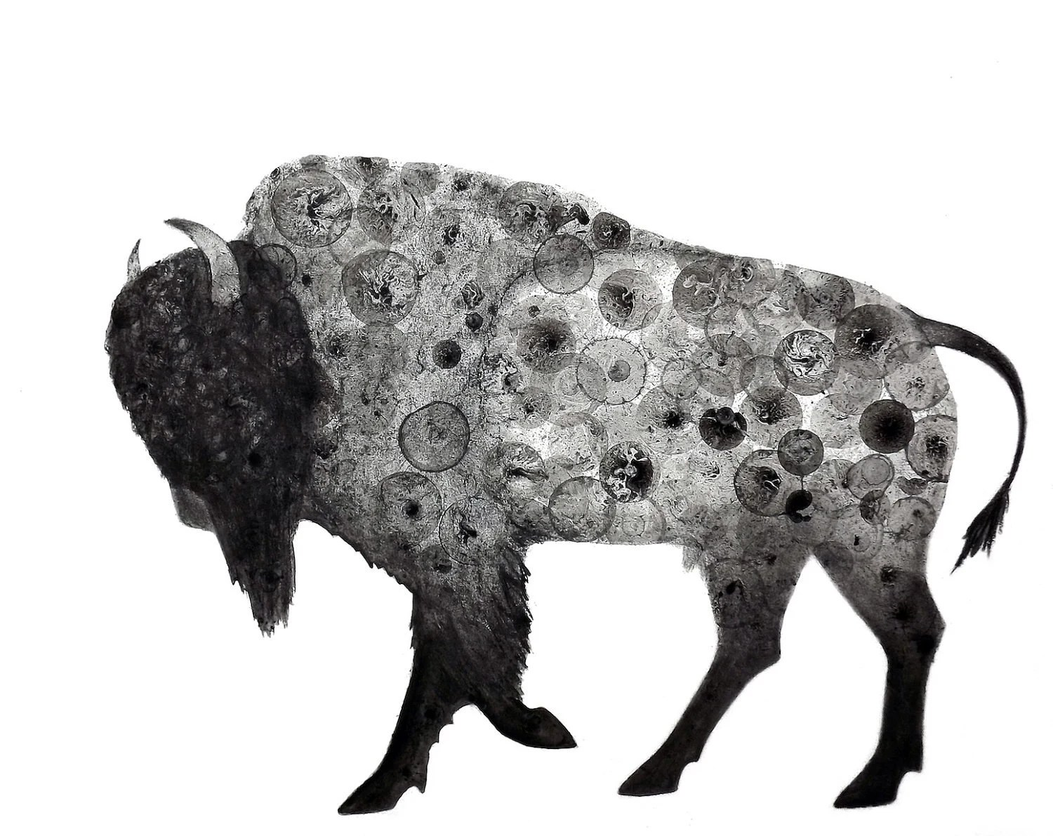 Bison 8X10 Print of my original ink painting, animal painting, bubble art, buffalo - VIZArt