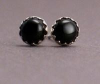 Black Dots Black Onyx Stud Earrings For Men and Women 4mm