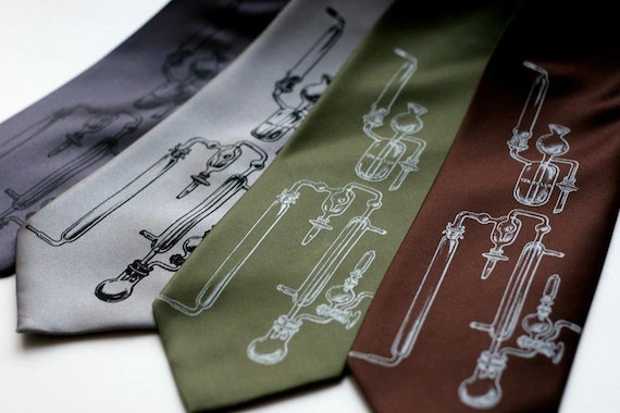 Experiment necktie, science and chemistry silkscreened tie