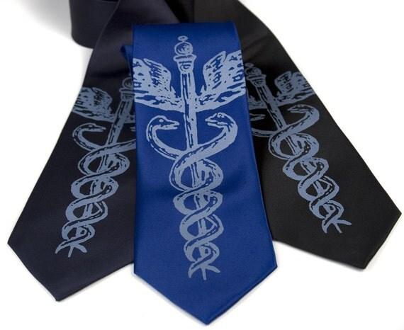 Caduceus, medical symbol necktie. Silkscreen design, microfiber tie. Steel blue ink.
