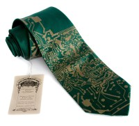Circuit Board Necktie. Emerald green Short Circuit silk tie.