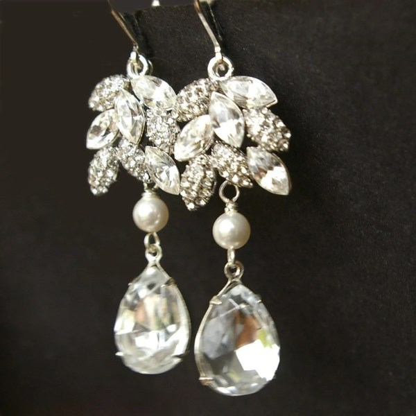 Crystal Leaf Wedding Earrings Silver Leaves Bridal 9be48a763d69