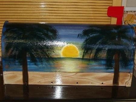 handpainted beach sunset design