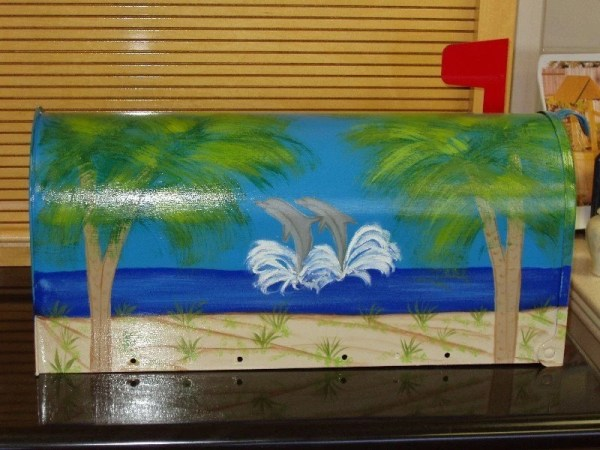 handpainted mailbox with dolphin