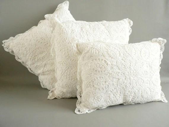 Battenburg Lace Pillow Set White Cotton Lace Pillows