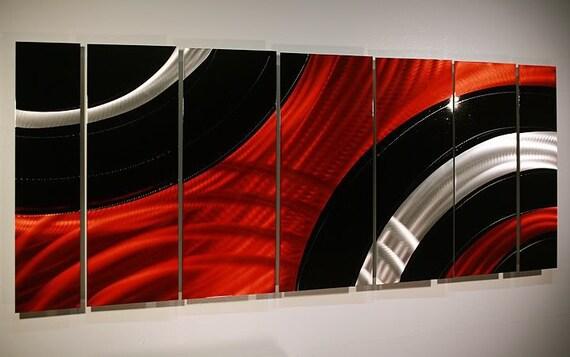 Items Similar To Black/Red/Silver Modern Metal Wall Art