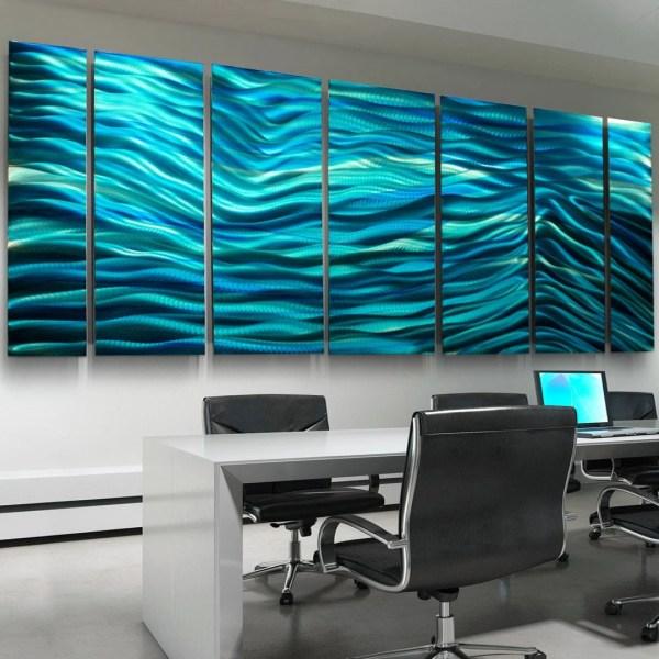 Aqua Blue Multi Panel Modern Metal Wall Art Sculpture