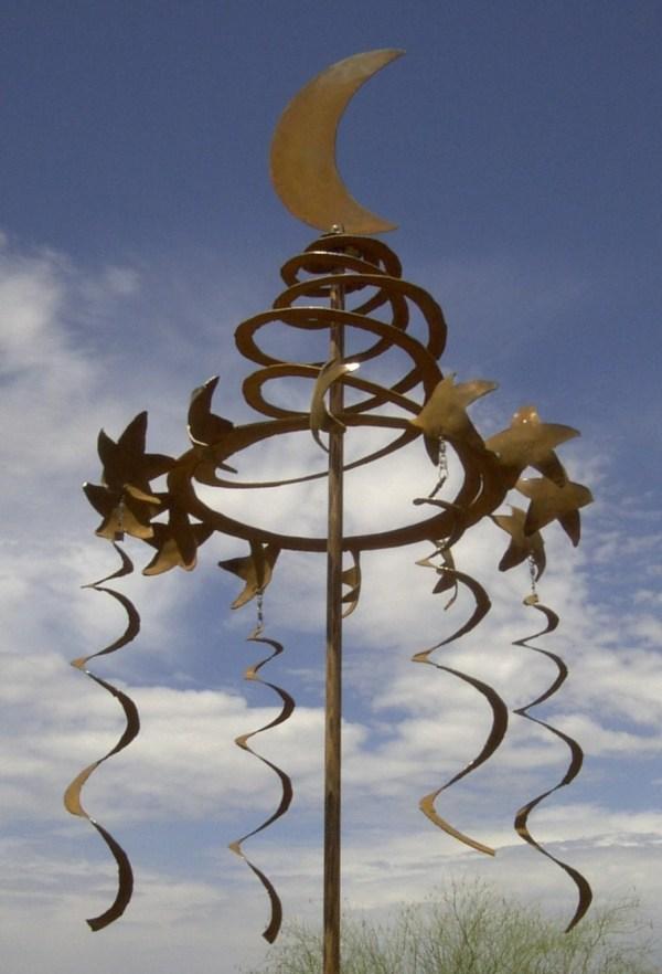 Wind Sculpture Kinetic Rusted Metal Petite Celestial Spiral