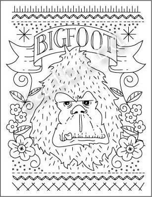Items similar to Bigfoot Embroidery Sampler Pattern on Etsy