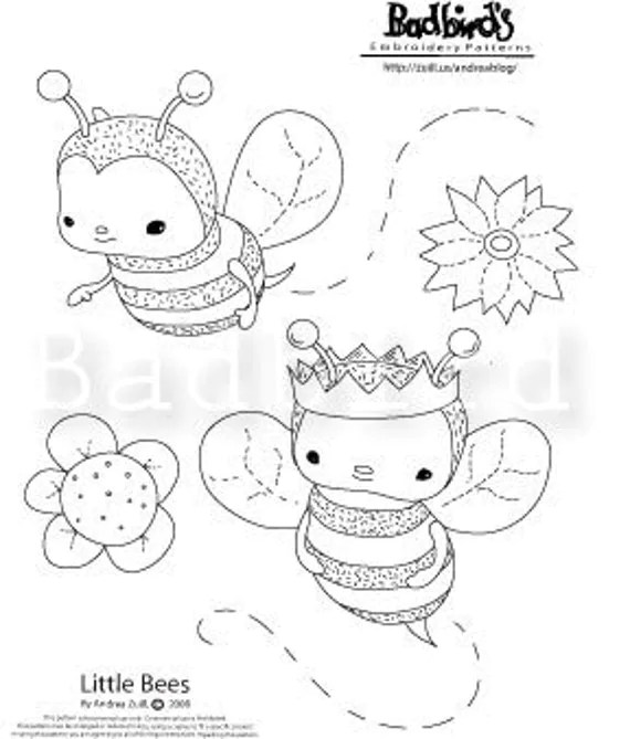 Items similar to PDF Little Bees Embroidery Pattern on Etsy