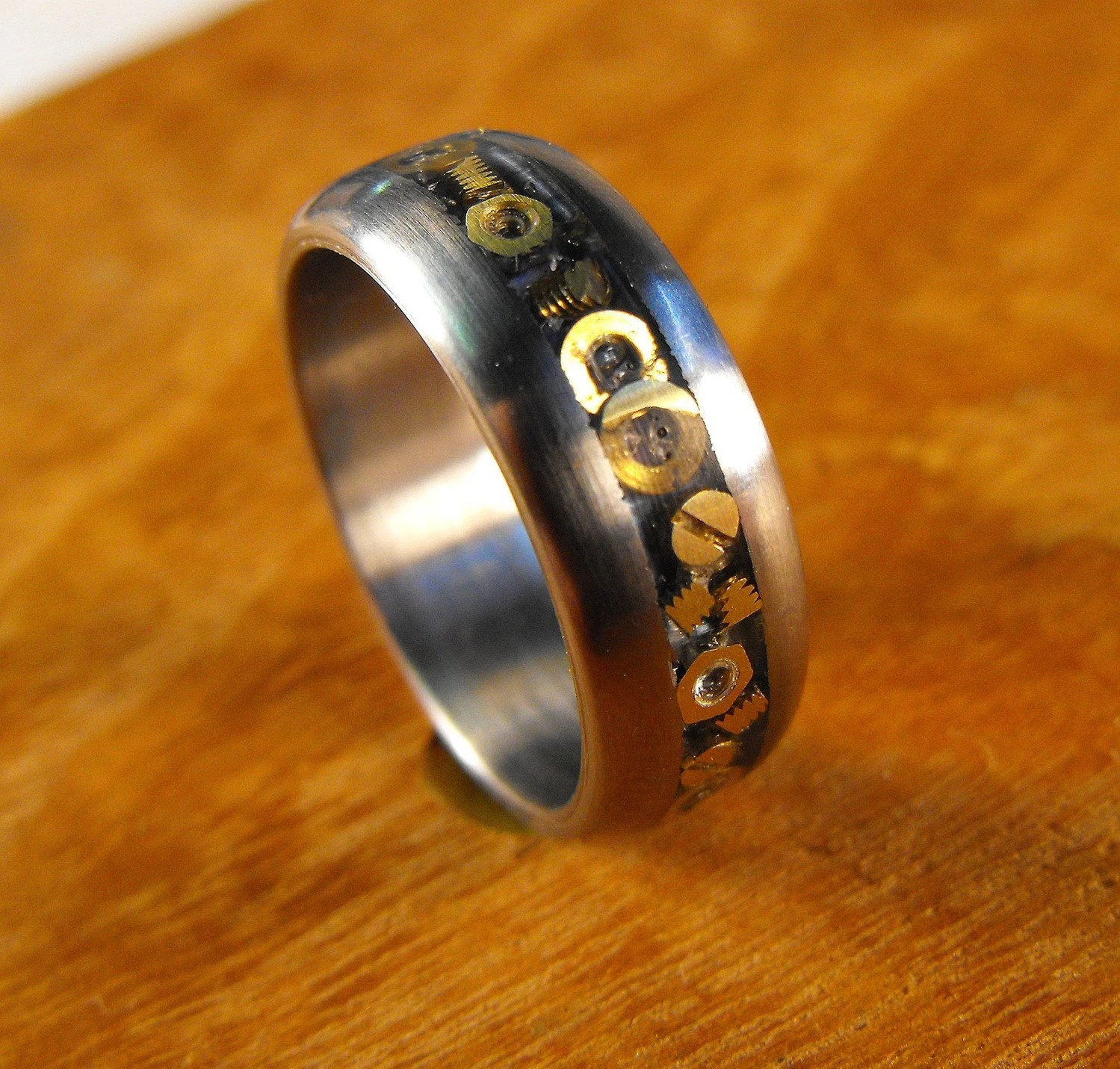 Titanium Wedding Ring With Inlaid Hardware The Nuts And Bolts