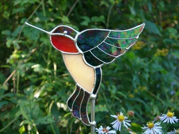 Stained Glass Hummingbird Garden Stake