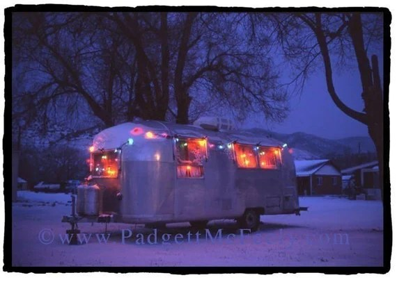 Blue Christmas Airstream Blank Greeting Card