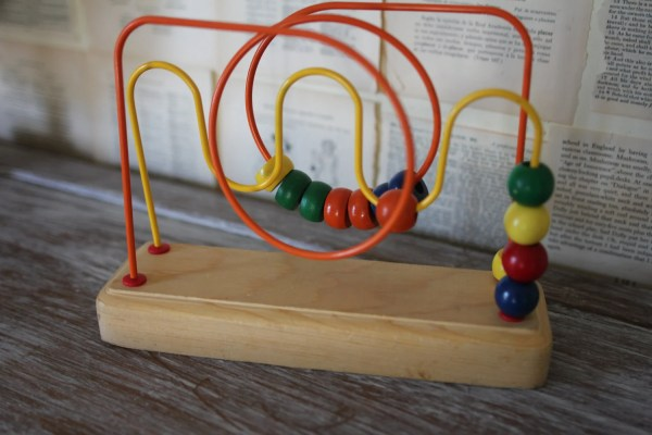 Vintage Wooden Baby Toy Retro Bead Maze Yellow Red Blue Green