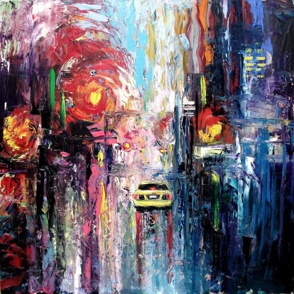 Abstract Painting Original Oil City Landscape Impasto Art