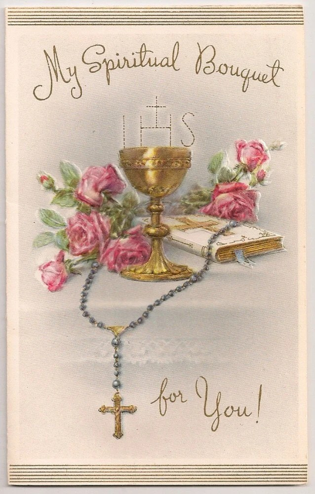Stars Quotes Wallpaper Embossed 1950s Catholic Mass Card My Spiritual Bouquet For