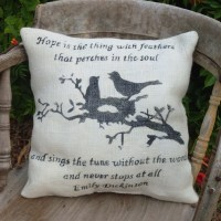 Hope Vintage Style Feed Sack Pillow