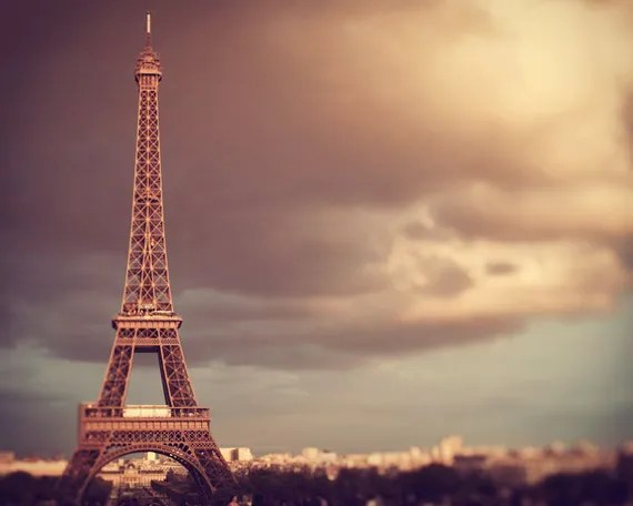 25% OFF Eiffel Tower at Sunset, Fine Art Paris Photograph, France, Romantic, Autumn Colors, Travel Photography - City Of Light