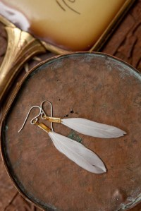 small white feather earrings by heidiroland on Etsy