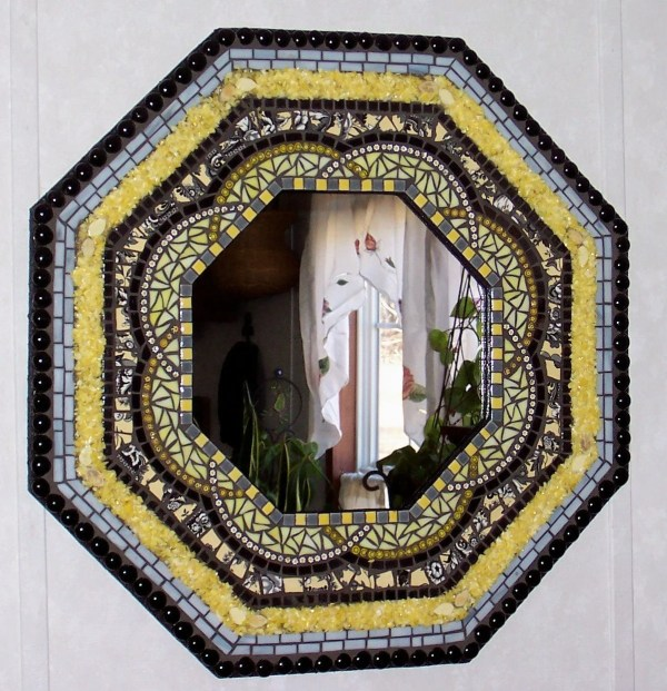 Awesome Stained Glass Mosaic Art Mirror-yellow And Black