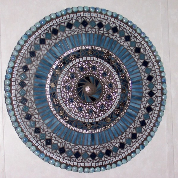 Mosaic Wall Art Mixed Media Stained Glass Blue And Silver