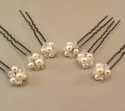 cream pearl wedding hair accessories