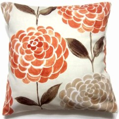 Flower Sofa Covers Sofas For Toddlers Uk Two Orange Tangerine Brown Taupe Pillow Handmade