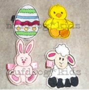 easter hair clippies set of 4