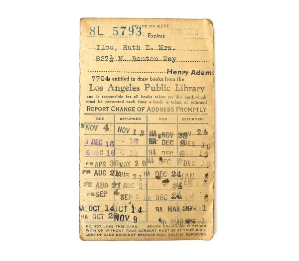 Los Angeles Public Library Card 1930s