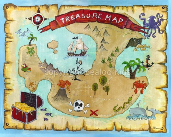 Nursery Art  8x10 Pirate Treasure Print - bealoo