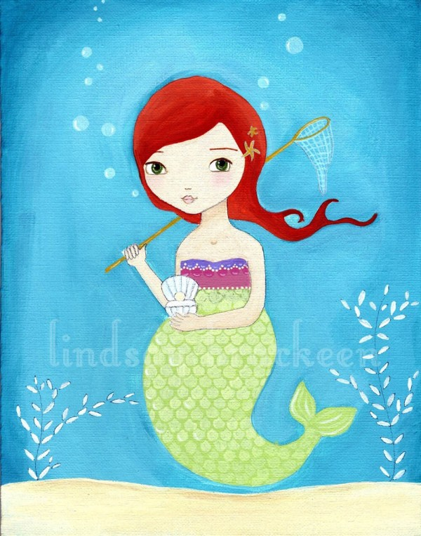 Items Similar Mermaid Print Nautical Kids Art