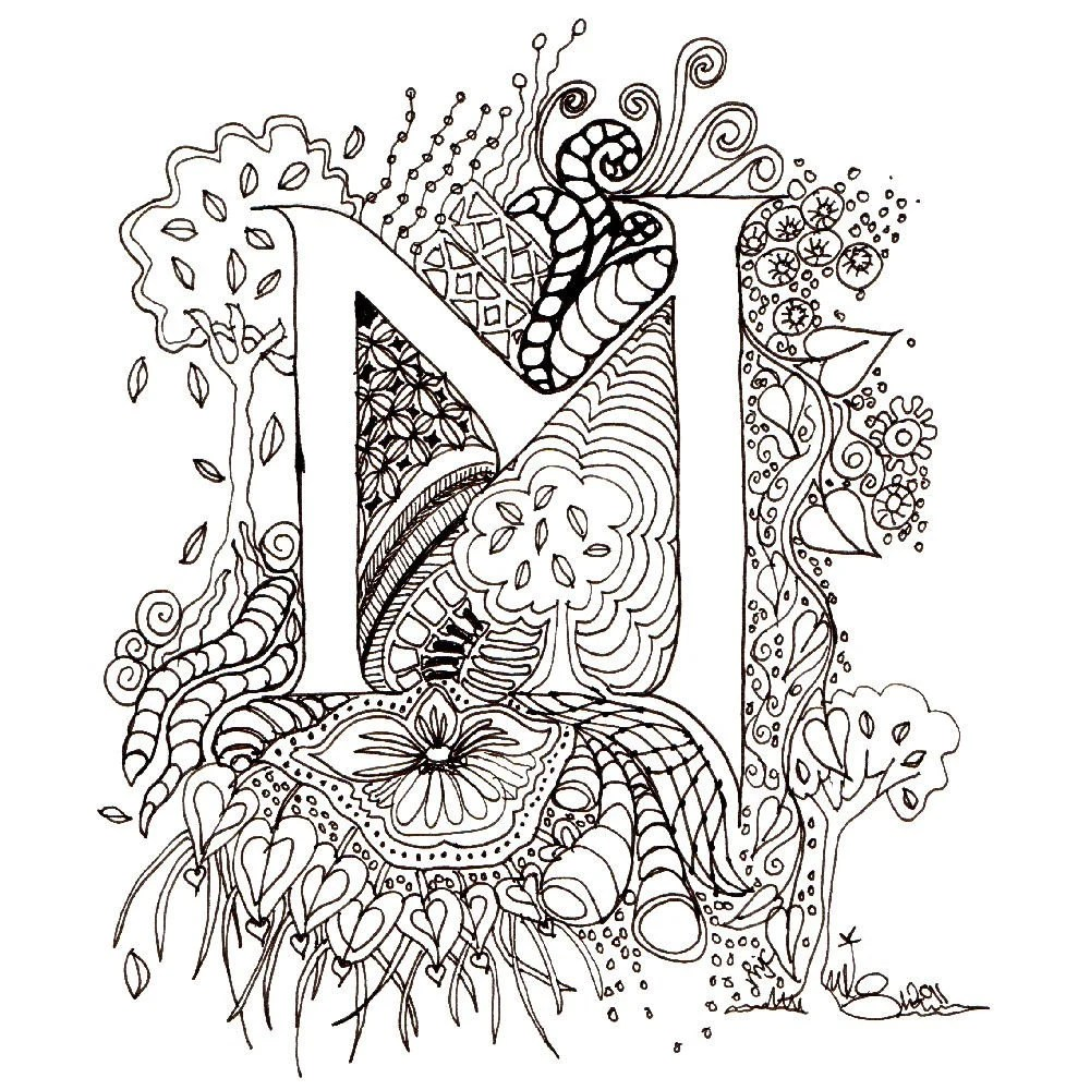 Monogram M Initial Colour-Me-In Illuminated Letters by wiccked