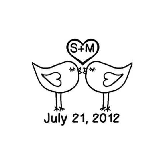 custom wedding stamp cute Love Birds Kissing with date Rubber