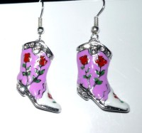 Decorative Pink Cowboy Boot Earrings Two Tone