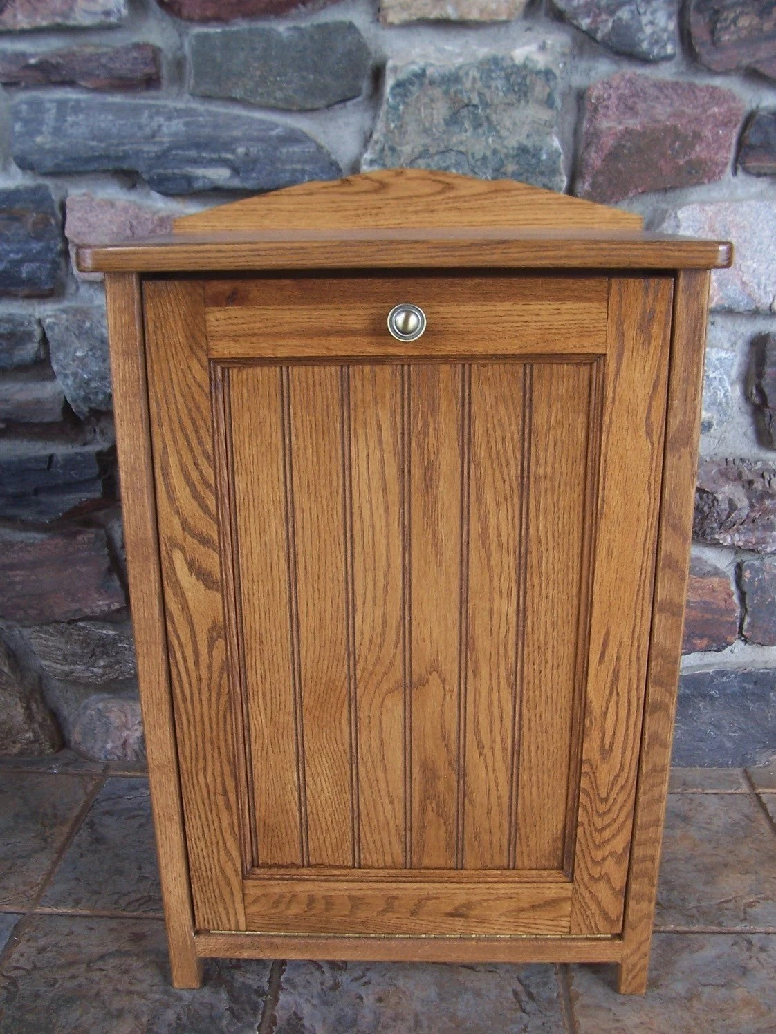 New Oak Wood Kitchen Trash Bin Tilt Out Door by woodupnorth