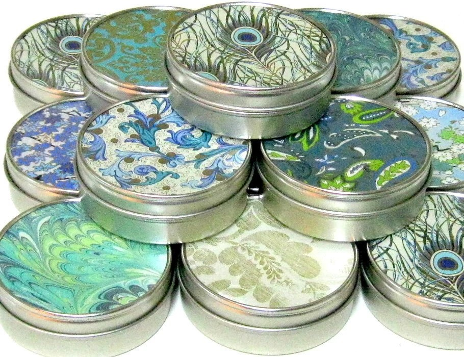 Peacock Favors  - 10 gift tins - Peacock Feather Inspired Japanese chiyogami party favor mint tins - GamiWorks