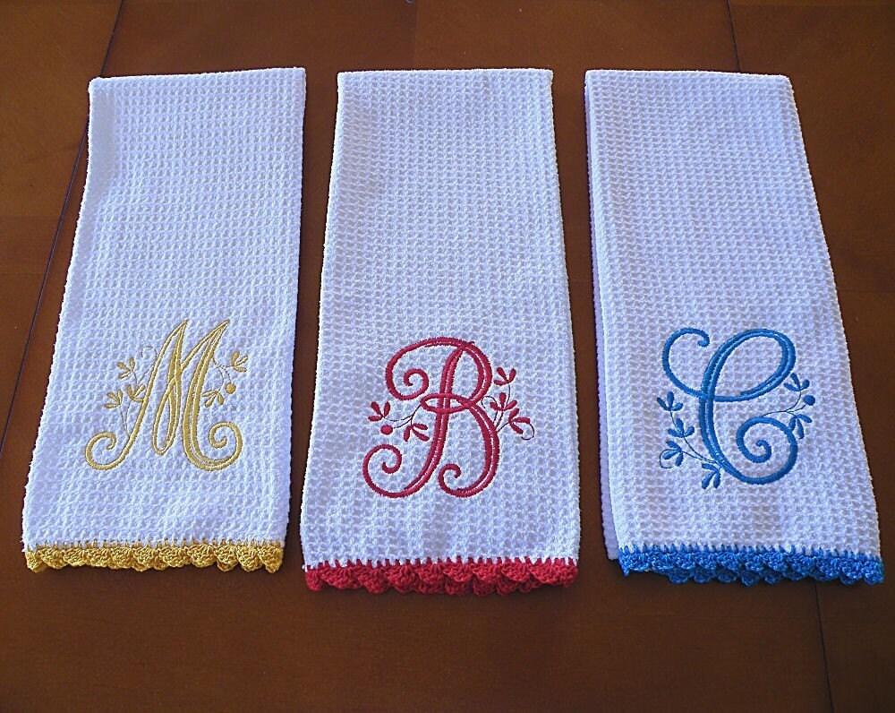 Monogrammed Dish Towel Monogrammed Kitchen Towel