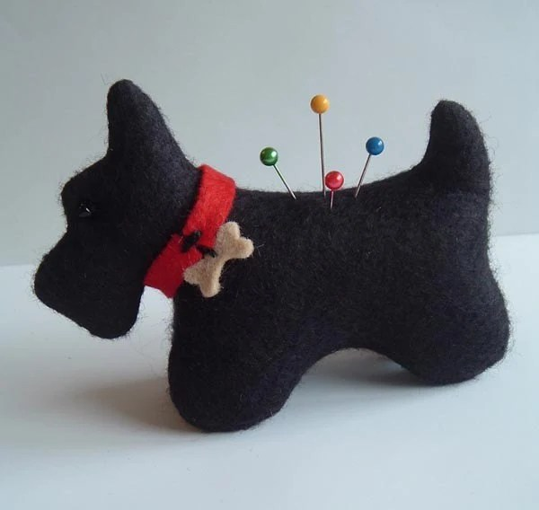 Wool Felt Scottie Dog PinCushion Original Pattern