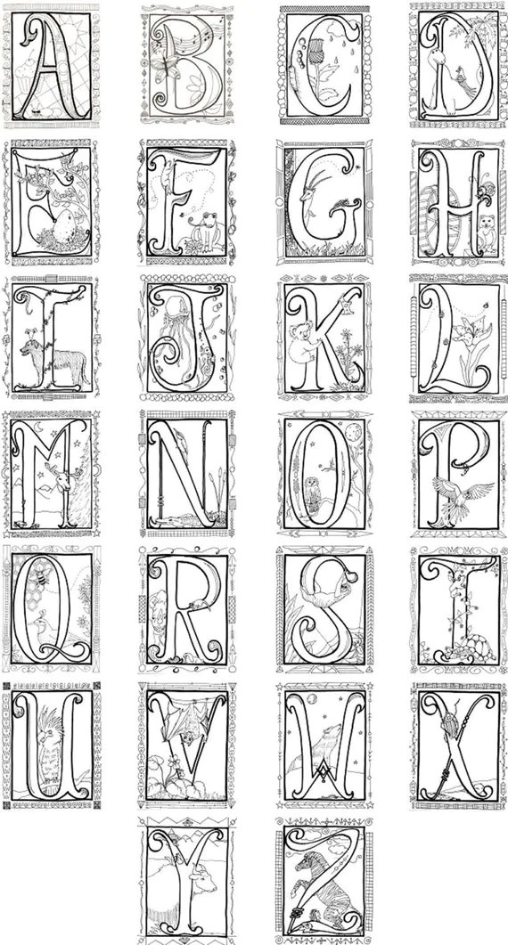 Illuminated Alphabet Coloring Poster by Spiritdancerstudio