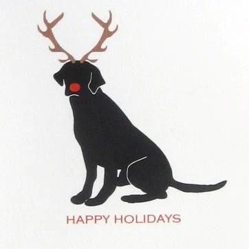 Black Lab Reindeer Cards Set Of 8 Blank HolidayChristmas